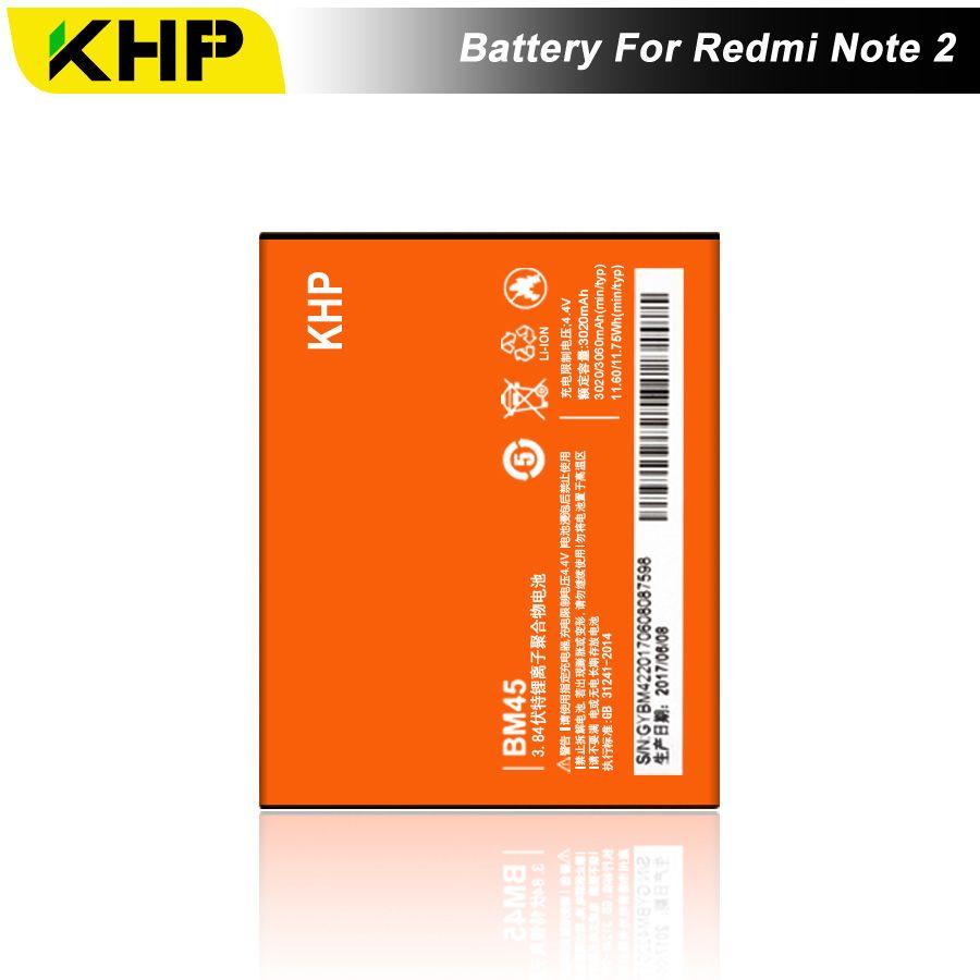 2017 NEW 100% KHP Original BM45 Phone Battery For Xiaomi RedMi Note 2 Bateria Hongmi Real 3060mAh Mobile Replacement Battery
