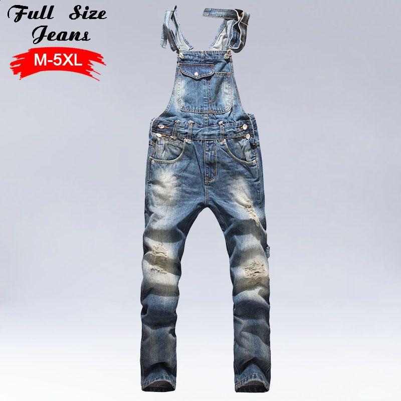 Men'S Plus Size Jeans Overalls Large Size Huge Denim Bib Pants Fashion Pocket Jumpsuits Male 4Xl 5Xl 3Xl