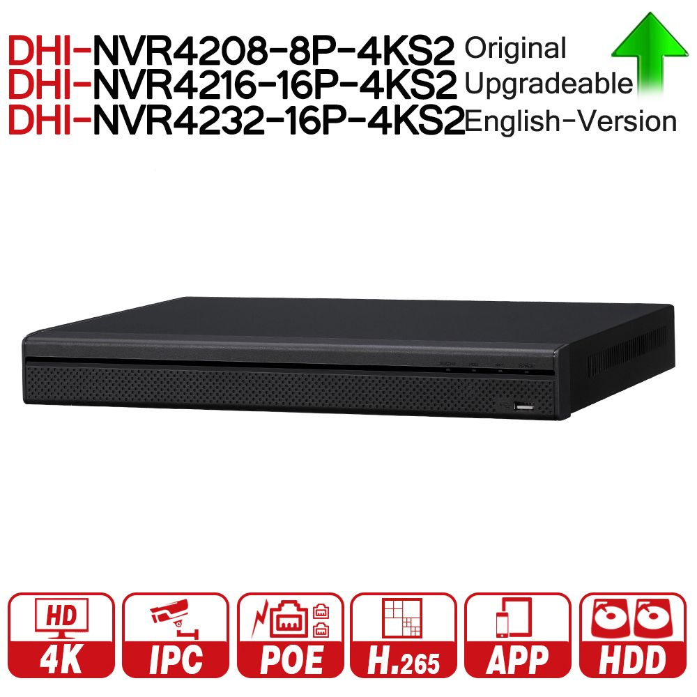 DH NVR4208-8P-4KS2 NVR4216-16P-4KS2 NVR4232-16P-4KS2 With PoE Port 4K Resolution H.265 For IP Camera Security System