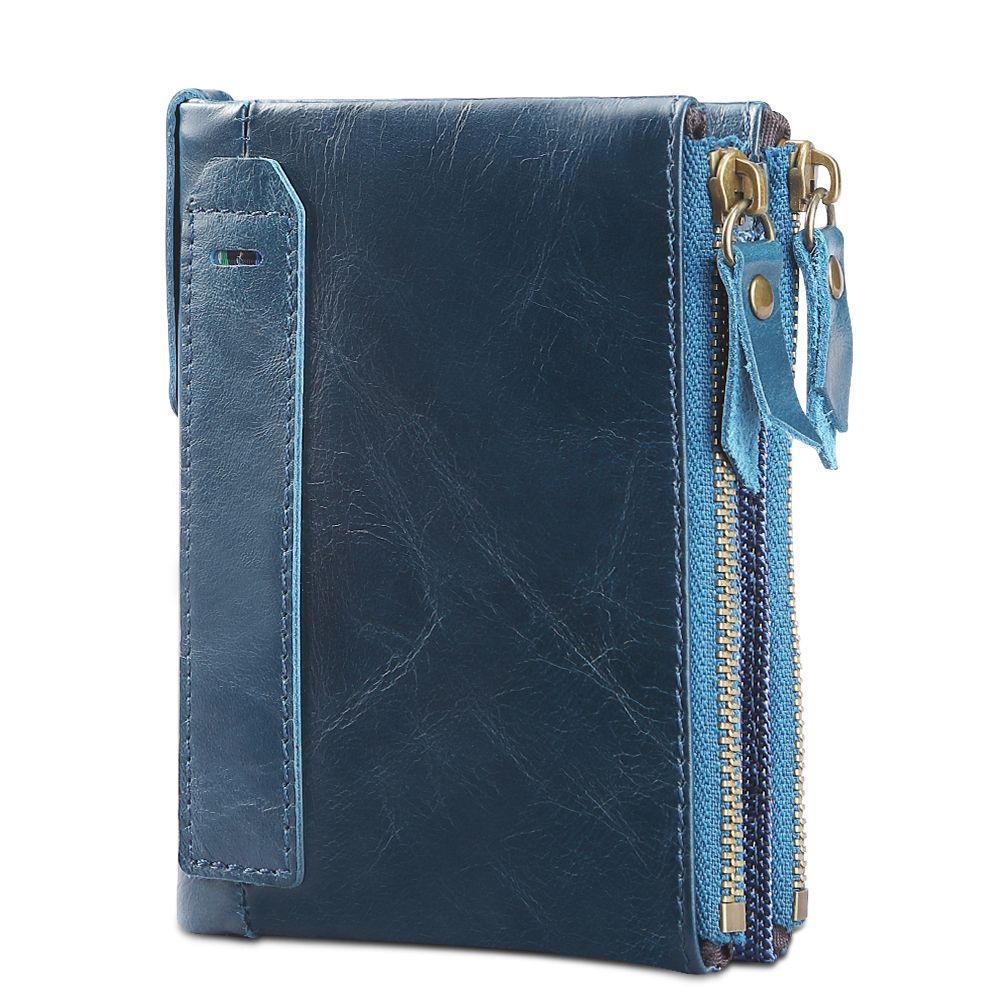Sale RFID Small Female Purse short purse genuine leather Snap Fastener Zipper Short Clutch Wallet Solid Vintage Women Wallet