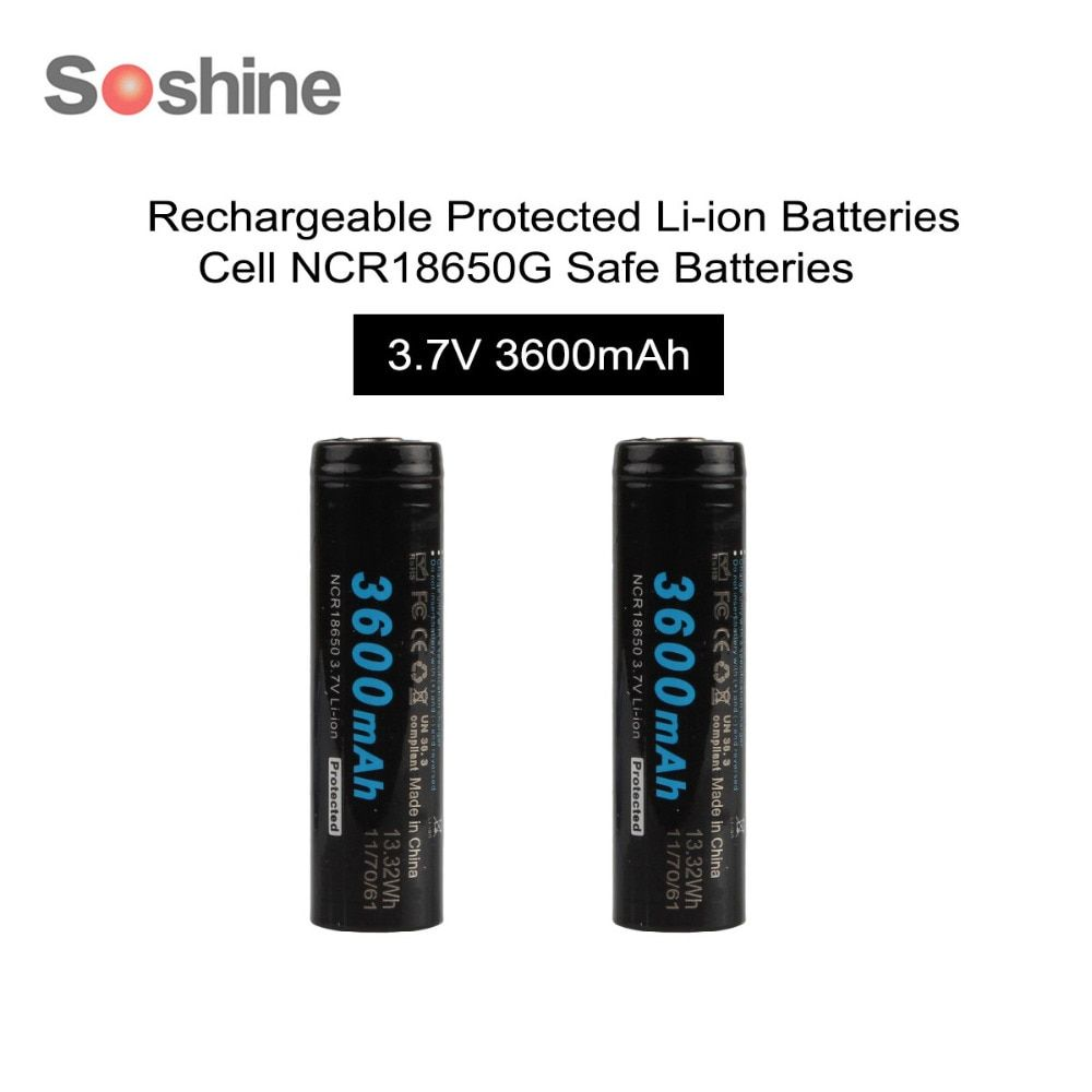 2pcs/set Soshine 18650 3.7v 3600mAh Li-ion Rechargeable Battery with Protected PCB for LED Flashlights <font><b>Headlamps</b></font>
