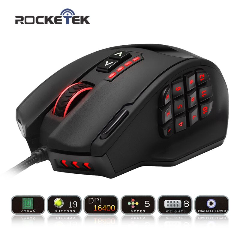 Rocketek USB Gaming Mouse 16400 DPI 19 buttons ergonomic design for desktop computer accessories programmable mice gamer lol PC