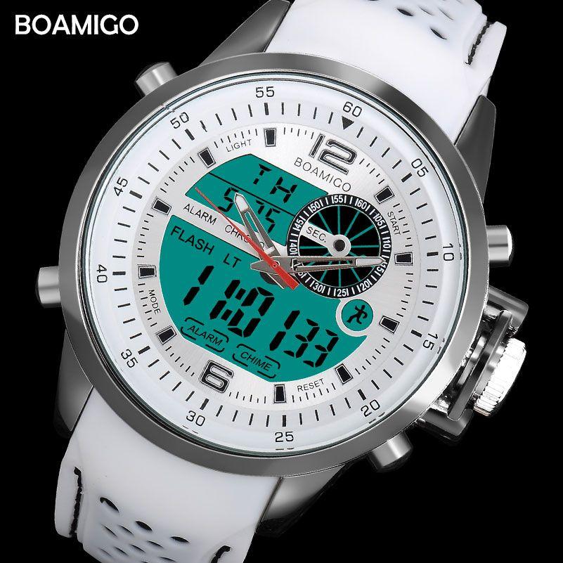 BOAMIGO brand men sports watches dual time digital watch rubber analog quartz watch white chronograph wristwatches reloj hombre