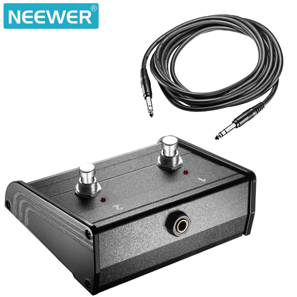 Neewer Dual-Channel 2-Button Footswitch Controller Switcher 1/4-inch Jack Cable for Microphone Guitar Bass Keyboard Amplifiers