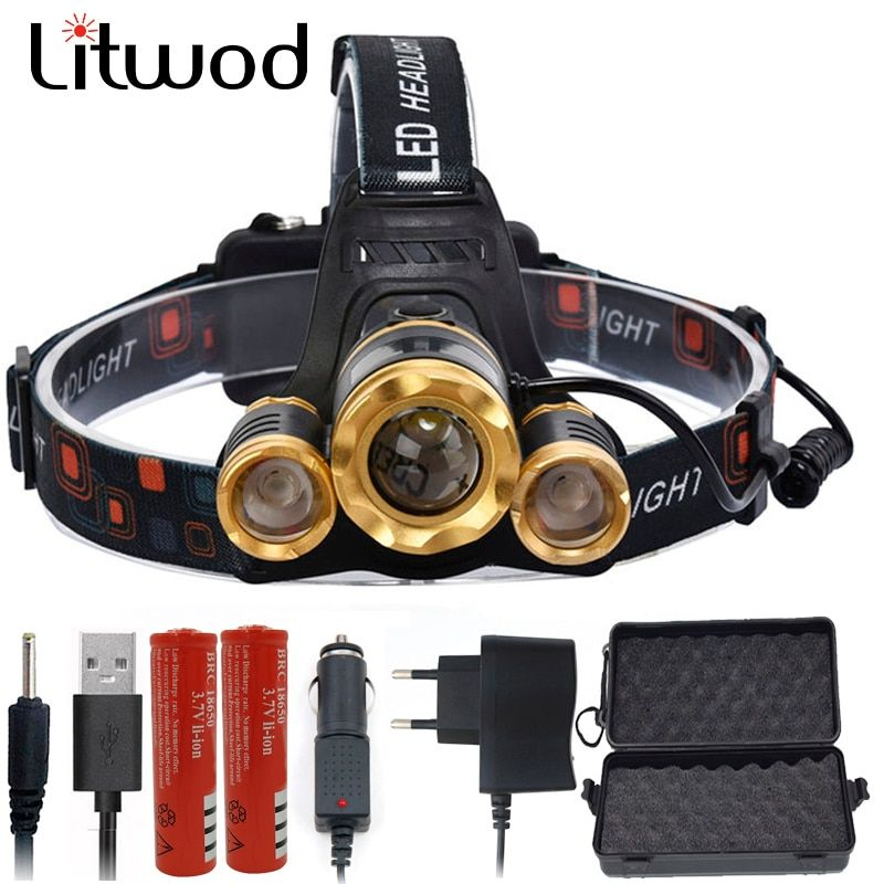 Litwod Z20748 Led Headlight Headlamp zoom adjustable T6+2Q5 7000Lm Rechargeable Head light Lamp Light Torch Use 18650 Battery