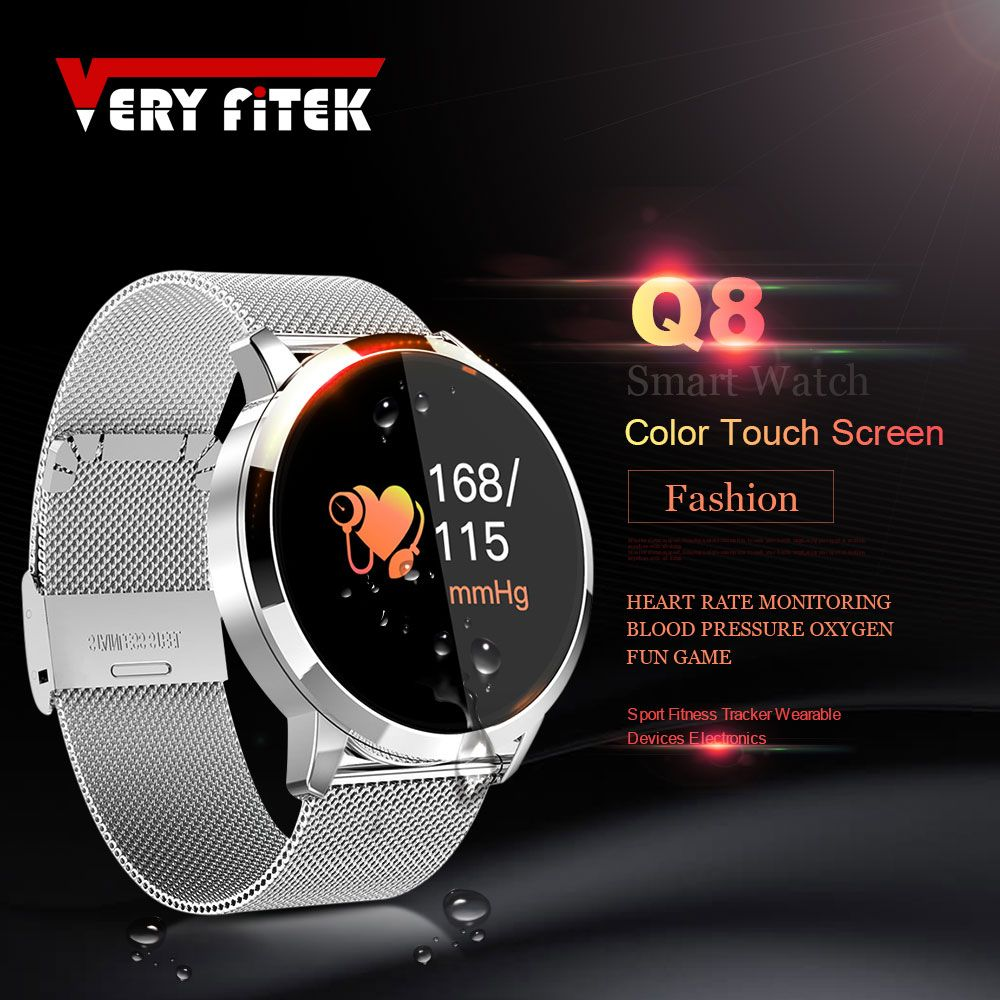 VERYFiTEK Q8 Blood Pressure Oxygen SmartWatch Heart Rate Monitor Sport Fitness Watches IP67 Pedometer Men Women Smart Watch