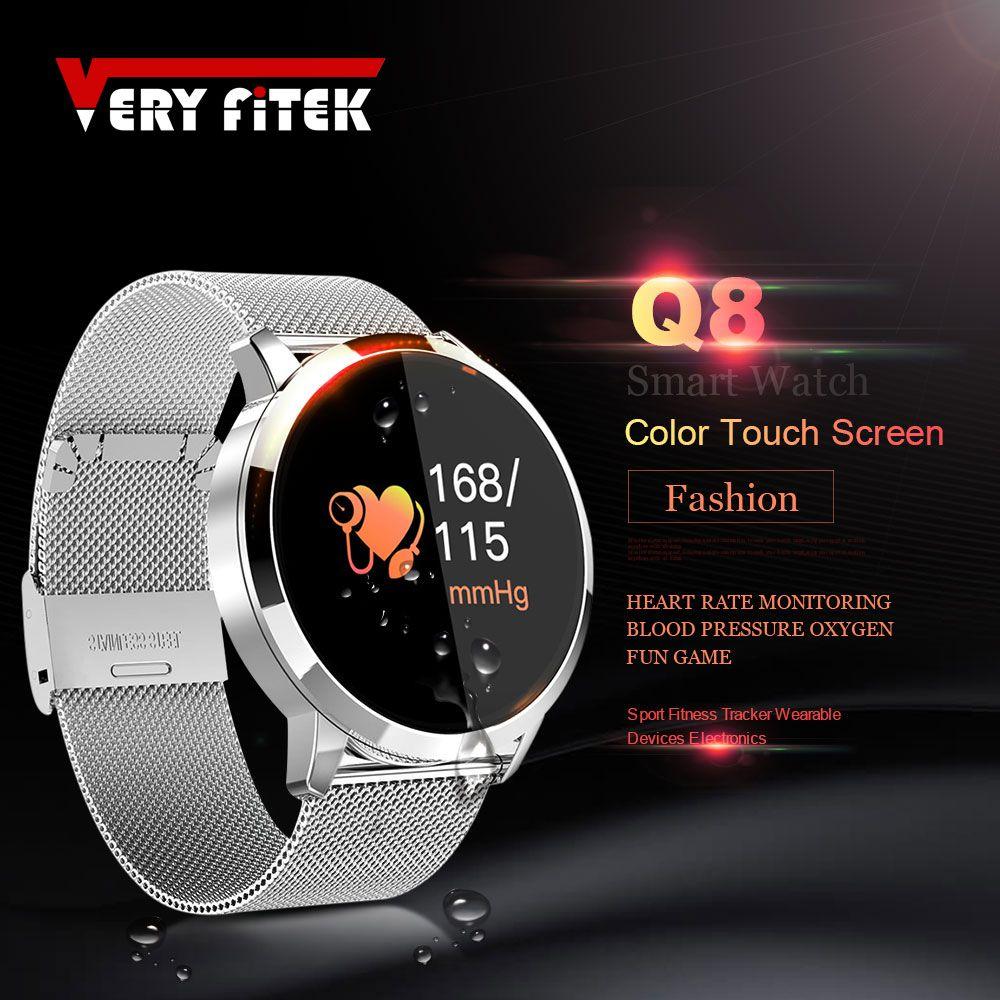 VERYFiTEK Q8 Sang Pression D'oxygène SmartWatch moniteur de fréquence cardiaque Sport montres de Sport IP67 Podomètre homme femme montre connectée