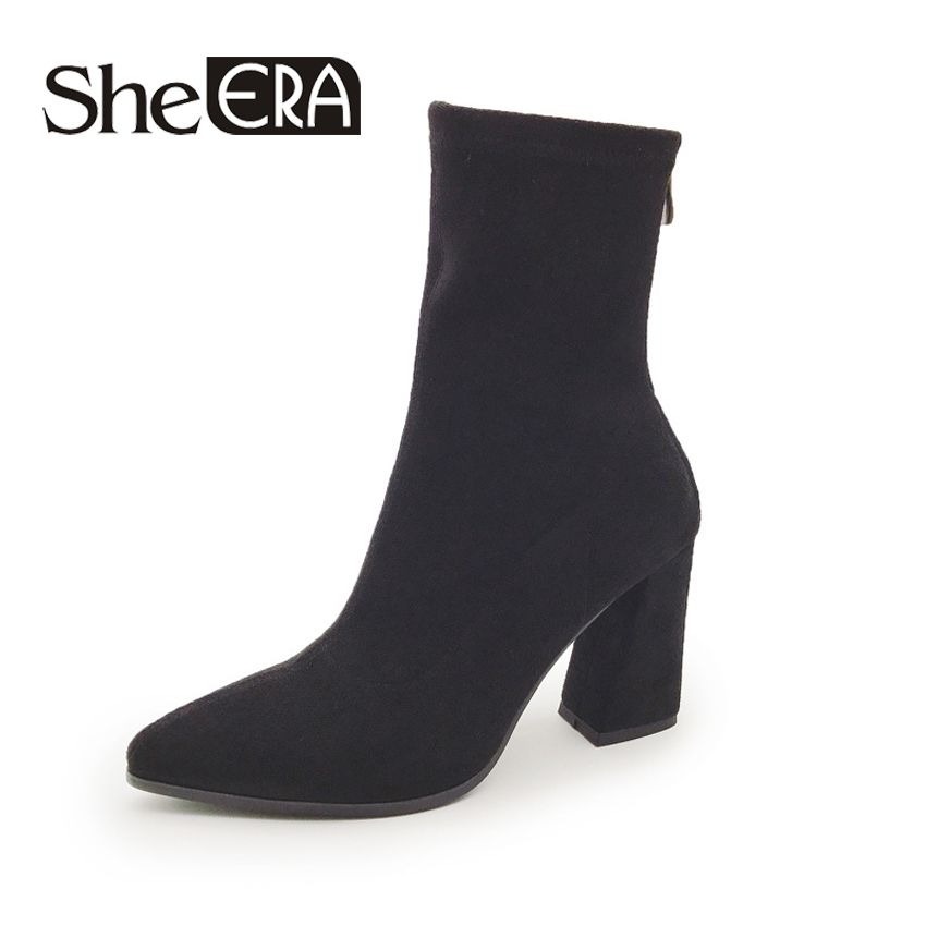 She Era Women's Boots Pointed Toe Elastic Ankle Boots Thick Heel High Heels Shoes Woman Female 2017 Winter Socks Boots