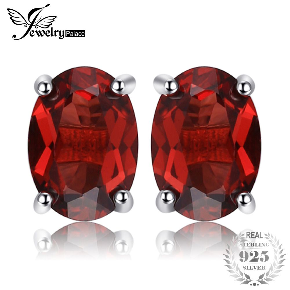 JewelryPalace Oval 2ct Natural Red Garnet Birthstone Stud Earrings Solid 925 Sterling Silver New Fine Jewelry For Women