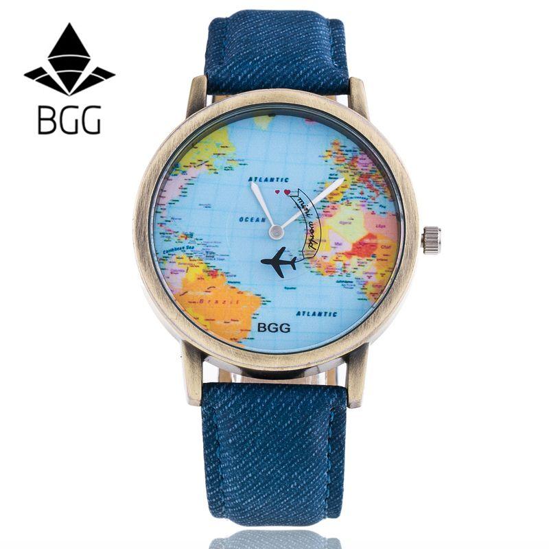 Bgg Spezielle Design Armbanduhr Flugzeug Fliegen Auf Die World Map Echtes Liebhaber Quarzuhr Relojes Mujer Clock Stunden Geschenk