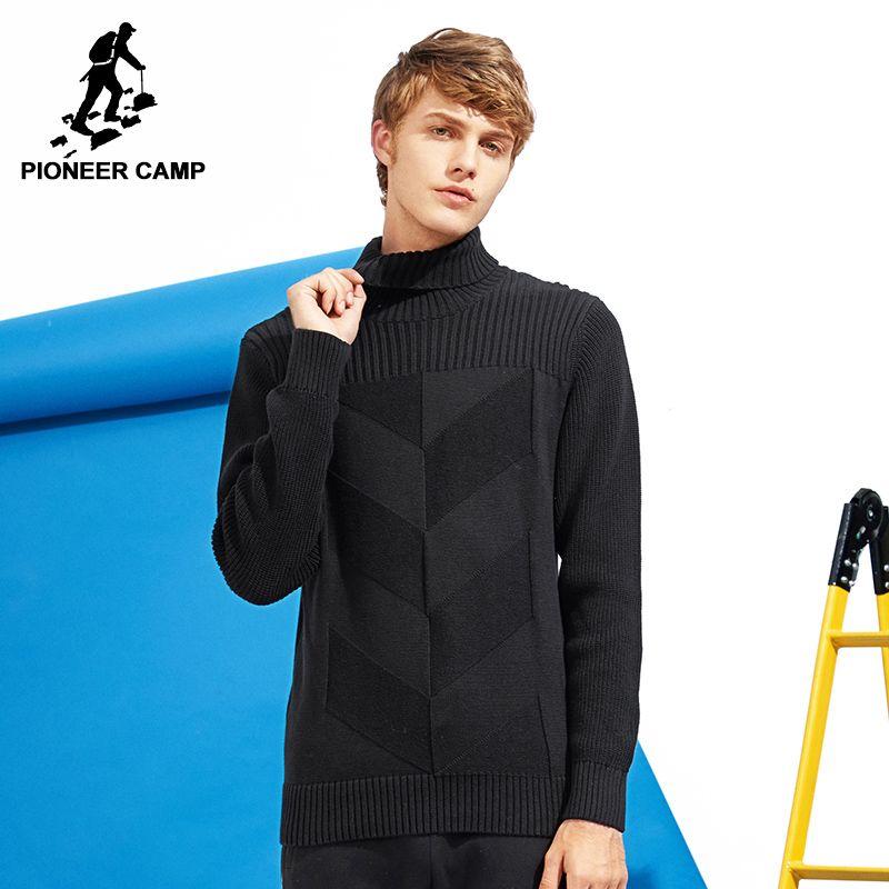 Пионерский лагерь новый стиль водолазка свитер брендовая мужская одежда мода на осень-зиму пуловер трикотаж двойной воротник AMS701376