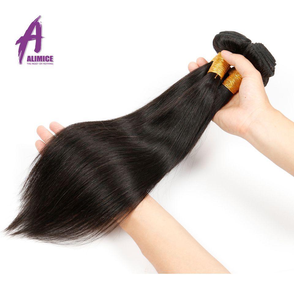 Alimice Бразильский прямые волосы 100% Человеческие волосы Weave Связки 8-30 дюймов натуральный Цвет не Волосы Remy расширения Бесплатная доставка