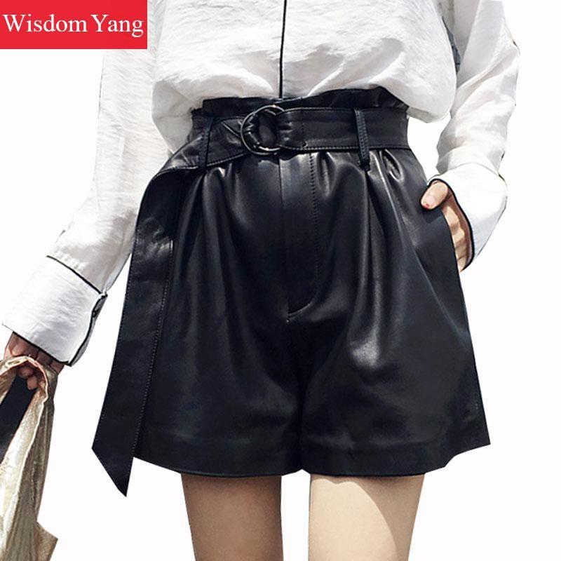 Wide Leg Real Sheep Skin Genuine Leather Shorts Women Ruffles 2018 Black Short Feminino Palazzo Ladies Suit Short Flare Trousers