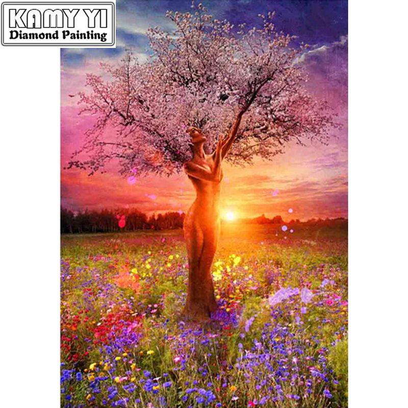 5D bricolage broderie pittoresque personnes arbre couture point de croix carré résine pleine diamant peinture paysage ZS