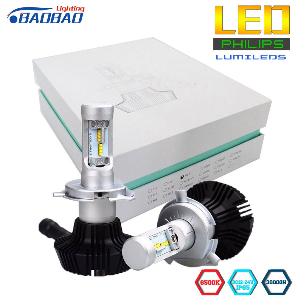 BAOBAO 7G Car Headlight Bulbs Kit Use Philips Lumileds Chips 8000lm Super Bright h4 h13 9007 h7 h11 9005 9006 80W White 6500K