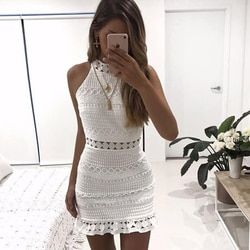 Nuevo vintage ahueca hacia fuera vestido de encaje mujeres elegante vestido blanco sin mangas elegante del verano vestido sexy vestidos robe