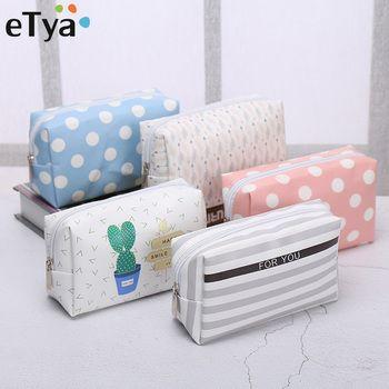 eTya Travel PU Leather Cosmetic Bag Korean Small Organizer Women Makeup Bag Make up Case Toiletry Bags Beauty Storage Wash bag