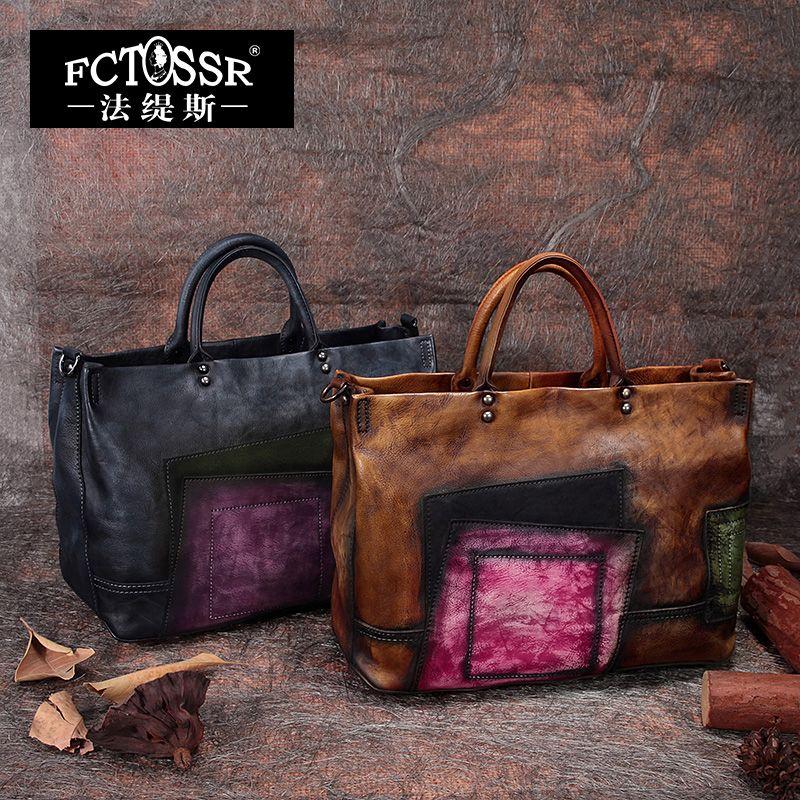 2018 Vintage Handmade Women Handbags Top Handle Cross body Shoulder Bag Big Totes Cow Leather Women Bags Mixed Color