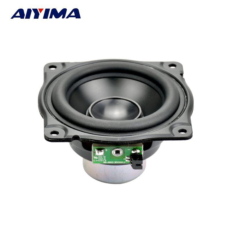 AIYIMA 3Inch Audio Speakers Full Range Speaker 4Ohm 12.5-30W High <font><b>Strength</b></font> Neodymium Magnetic Bass Light Aluminum Basin For AURA