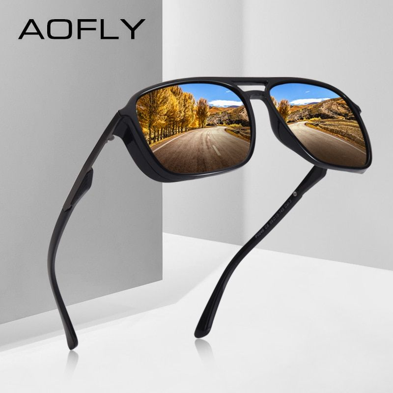 AOFY MARKE DESIGN Sonnenbrille Polarisierte Männer Punk Vintage Brillen Steampunk Sonnenbrille Brille Gafas De Sol AF8114