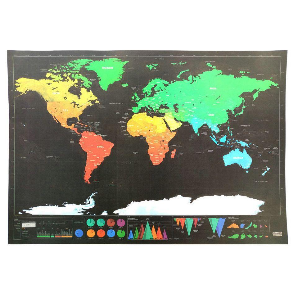 Carte à gratter du monde édition voyage Deluxe carte à gratter personnalisée carte du monde affiche noir Journal du voyageur Journal cadeau
