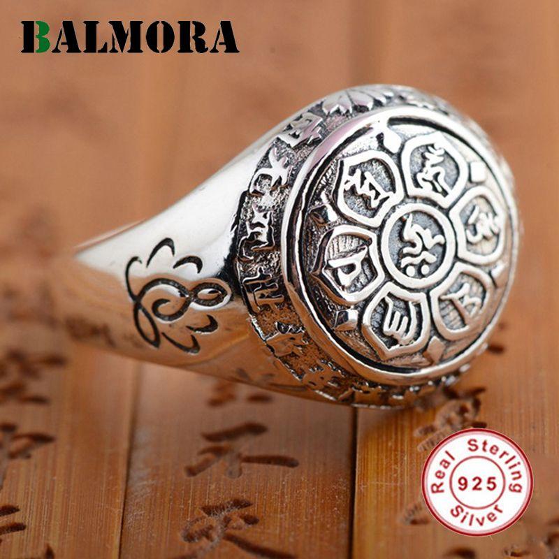 BALMORA Vintage 100% Réel 925 Bijoux En Argent Sterling Bouddhique Six Mots» Mantra Anneaux pour Femmes Hommes Lovers Cadeaux SY20992