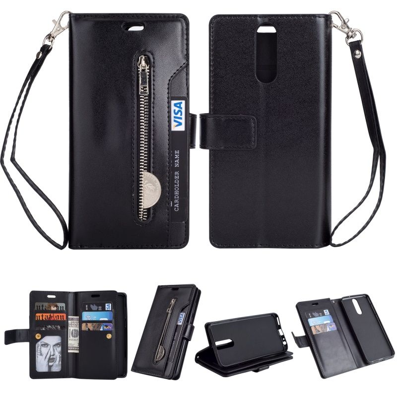 DULCII Multi-slot Wallet Zippered Leather Case for Huawei Mate 10 Lite / nova 2i / Maimang 6 / Honor 9i (India) Cover Bag Black
