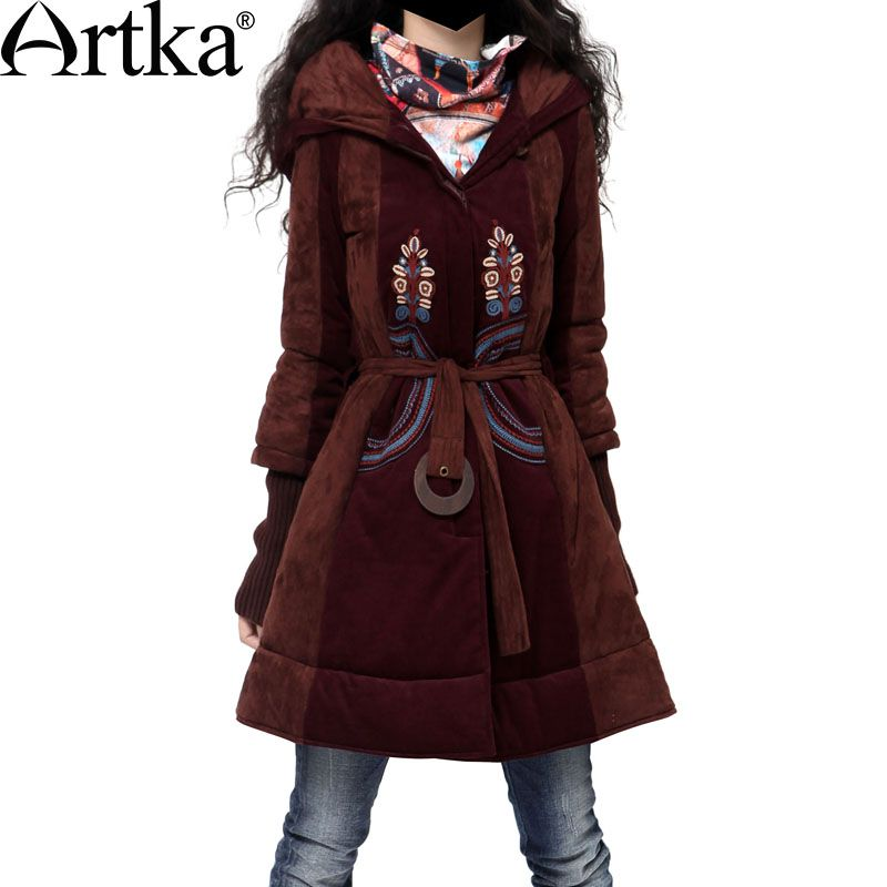 Artka Winter Parka Female Embroidery Jacket Coat With Belt Vintage Ladies Overcoat 2017 Puffer Jacket Warm Outerwear MA10340D