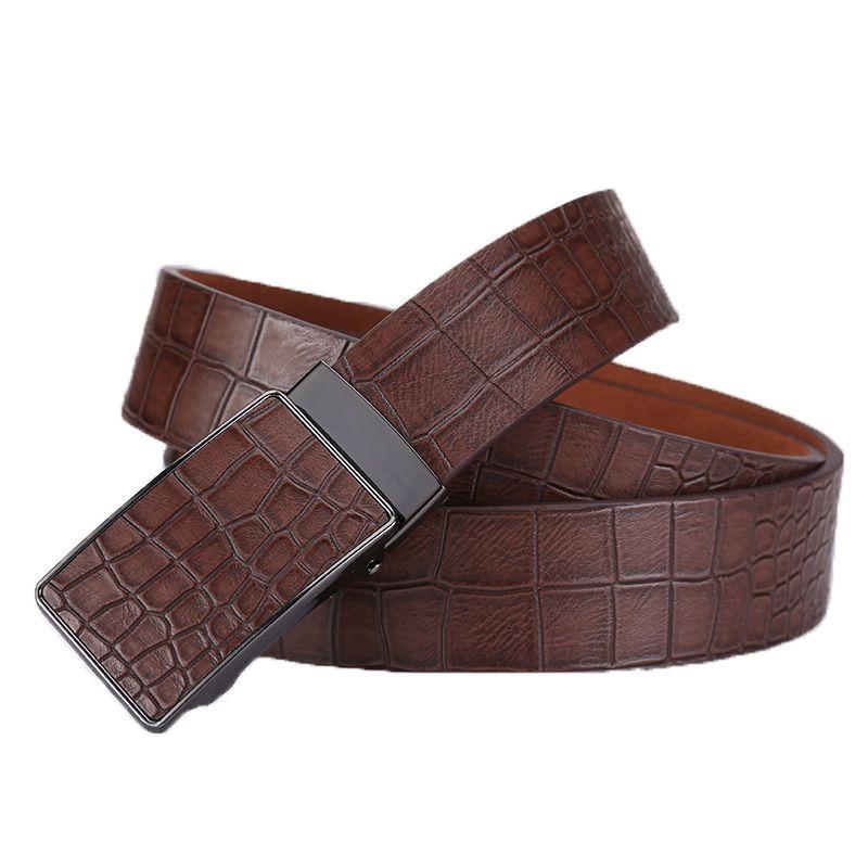 Ta-weo décontracté hommes ceintures en cuir, Faux Crocodile rayé sangle, boucle automatique en cuir ceinture hommes bonne qualité