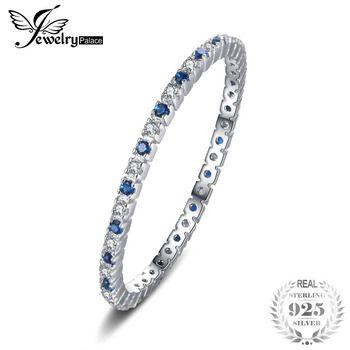 JewelryPalace Anel De Prata 925 Azul Spinel Anéis da Faixa Do Casamento Para As Mulheres 925 Marca de Moda Clássico de Prata Esterlina Jóias Finas
