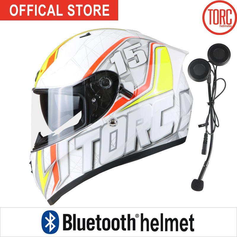 Bluetooth Connect Phone Support call motorbike Casco motorcross Gearracing helmet full face motorcycle helmet Dual lenses T128
