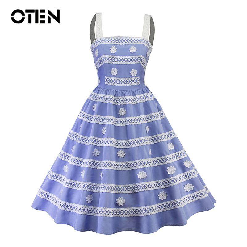 OTEN New 2018 summer women dresses elegant Blue clothing Spaghetti Strap midi Flower Lace pin up Rockabilly Skater Swing dress