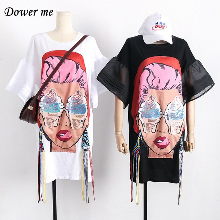 Summer Fashion Cartoon Cotton Women Dress Vestidos Preppy Style Casual Simple Loose Slim Dresses Cute Puff Sleeve Frocks  YN649