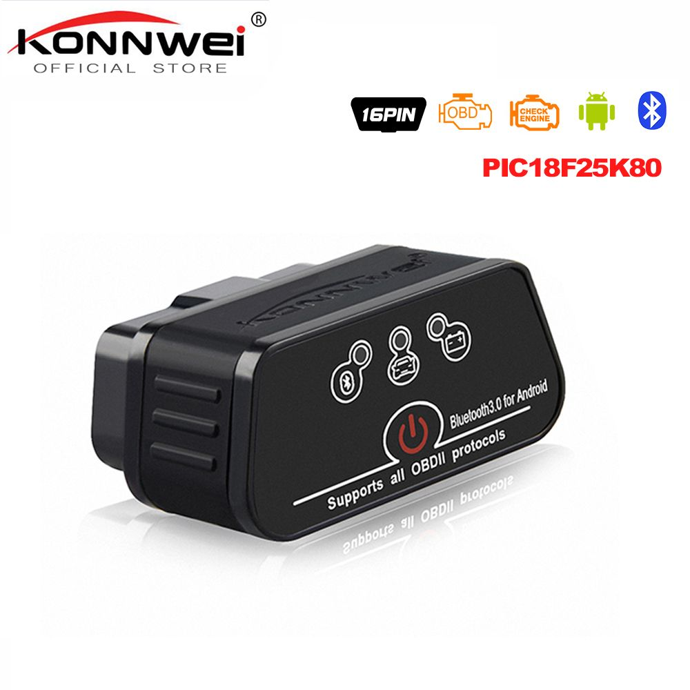 ELM327 OBD2 Scanner Auto scanner ICar2 KONNWEI Bluetooth ELM 327 v 1.5 Voiture De Diagnostic Outil EML327 OBD 2 Scanner Pic18f25k80 puce