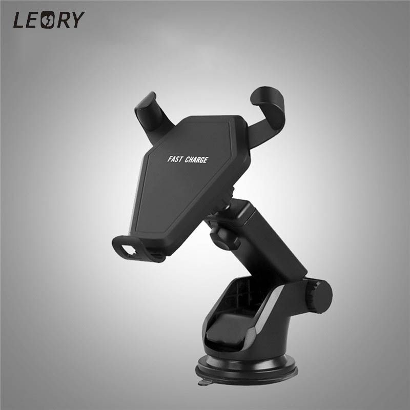 Leory 360 Degree Adjustable 10W Qi Wireless Car Charger Gravity Auto Lock Car Fast Charging Charger Phone Holder for iPhone X 10