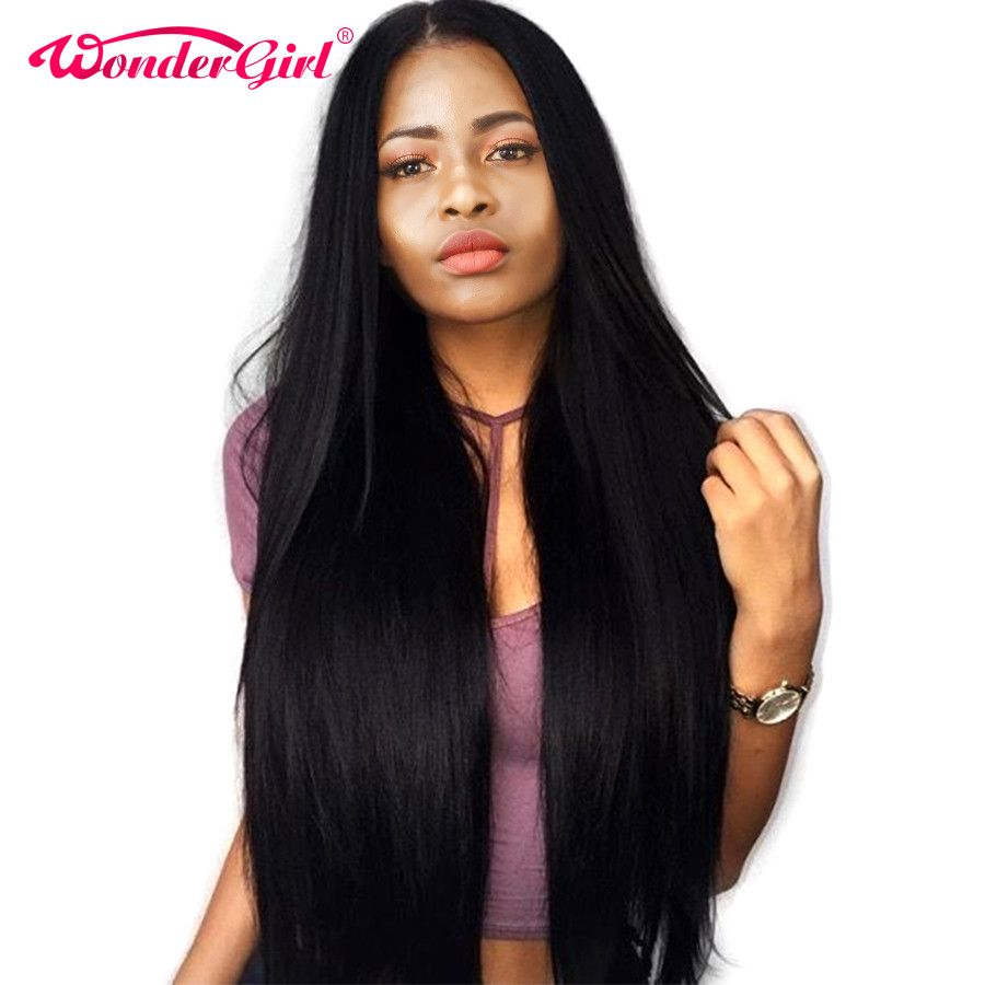 Wonder girl Glueless Lace Front Human Hair Wigs With Baby Hair Malaysian Straight Lace Wigs Pre Plucked Lace Front Wig Non Remy