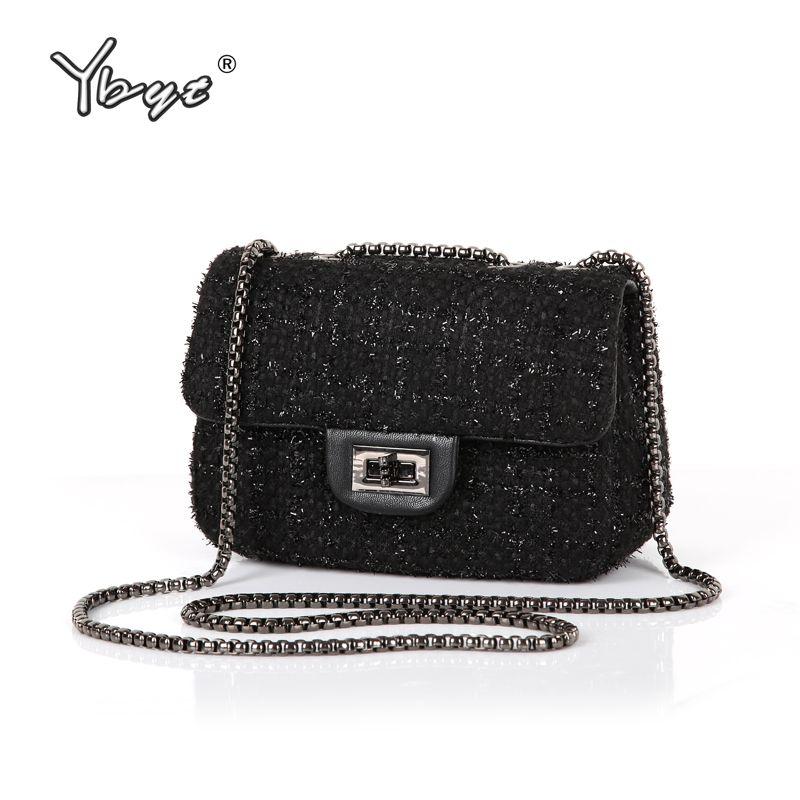 YBYT marca 2018 nuevo bromista de la manera de hotsale de las señoras de noche de invierno de lana solapa de las mujeres de pequeñas bolsas de hombro del mensajero de crossbody bags