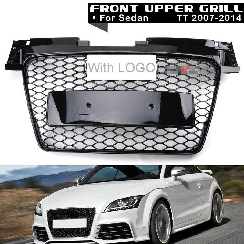 1Pc Car Racing Grille For Audi TT Grill Quattro 8J SFG MK2 2007-2014 Emblem ABS Radiator Chrome Front Modify Part Mesh Honeycomb