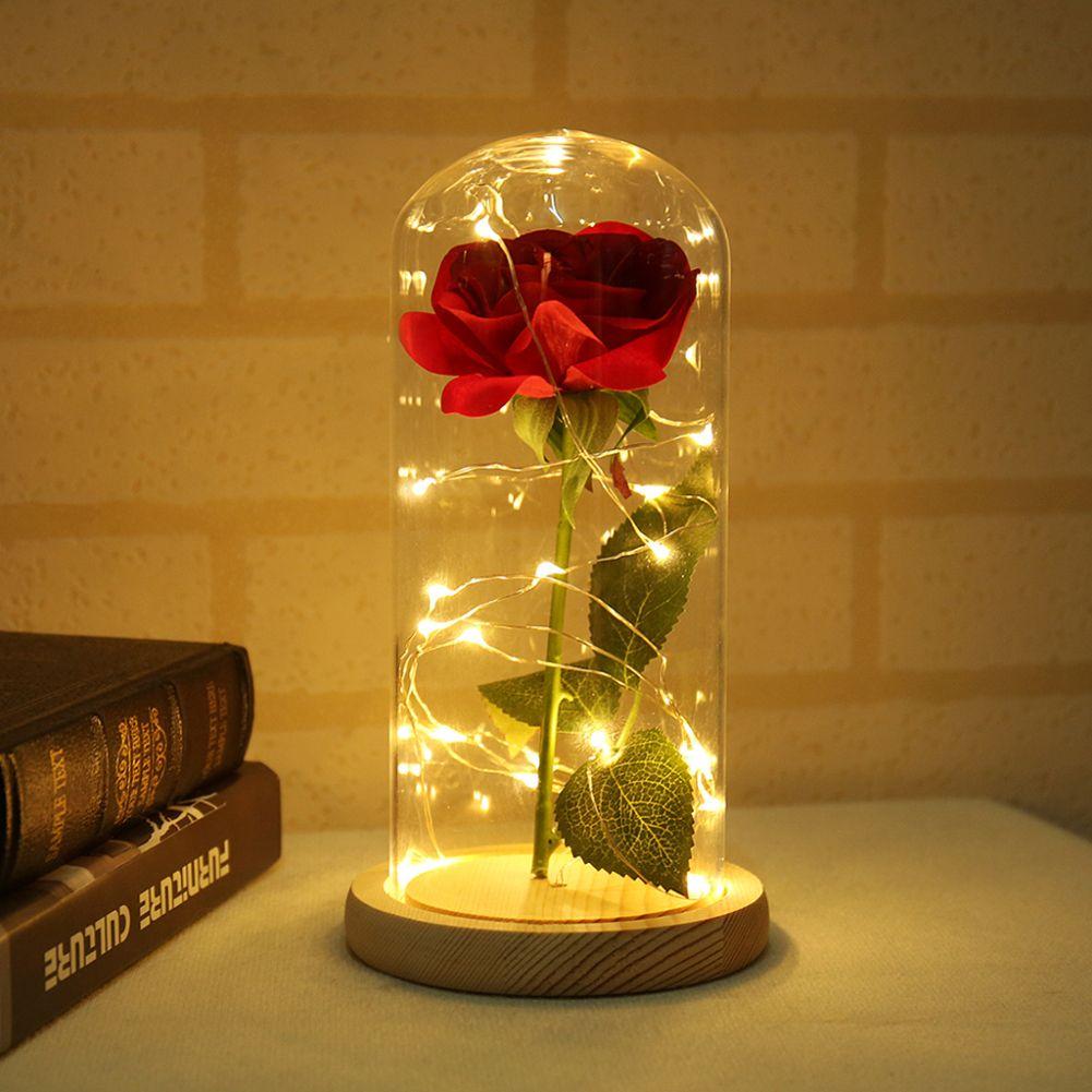 Verre coupole Soie De Sésame lumières en forme de fleur avec led cordes légères Sauvé sur Socle En Bois pour la Saint Valentin cadeau d'anniversaire Décor