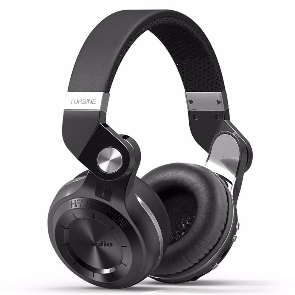 Bluedio T2 + Bluetooth casque sur l'oreille sans fil pliable casque avec micro BT 5.0 FM Radio carte SD casque
