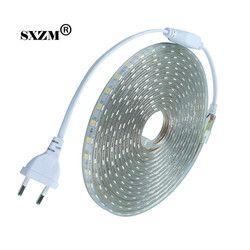 светодиодная лента Водонепроницаемый SMD5050 led лента strip 220В гибкие светодиодные ленты 60 светодиодов/Метр открытый сад освещения с ЕС разъем