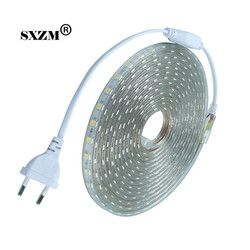 Waterproof SMD 5050 led tape AC220V flexible led strip 60 leds/Meter outdoor garden lighting with EU plug 1M/2M/3M/5M/10M/15M