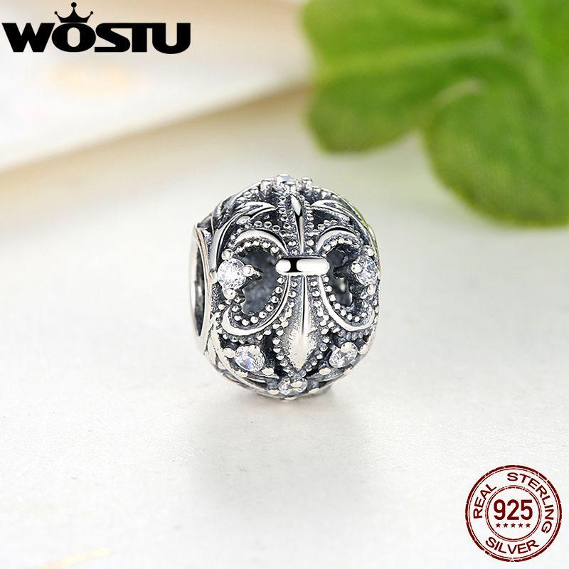 Лидер продаж 925 пробы серебро Флер-де-Лис оригинальный Шарм с четким CZ Fit WST браслет цепочки и ожерелья Аутентичные DIY ювелирные изделия
