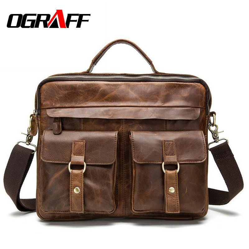 OGRAFF Genuine Leather Bag Men Messenger Bags <font><b>Handbag</b></font> Briescase Business Men Shoulder Bag High Quality 2018 Crossbody Bag Men