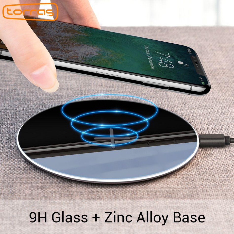 Torras Original Qi Wireless Charger for iPhone X XS Max Slim Fast 10W USB Wireless Charging for Samsung S8 S7 Edge Wireless Pad