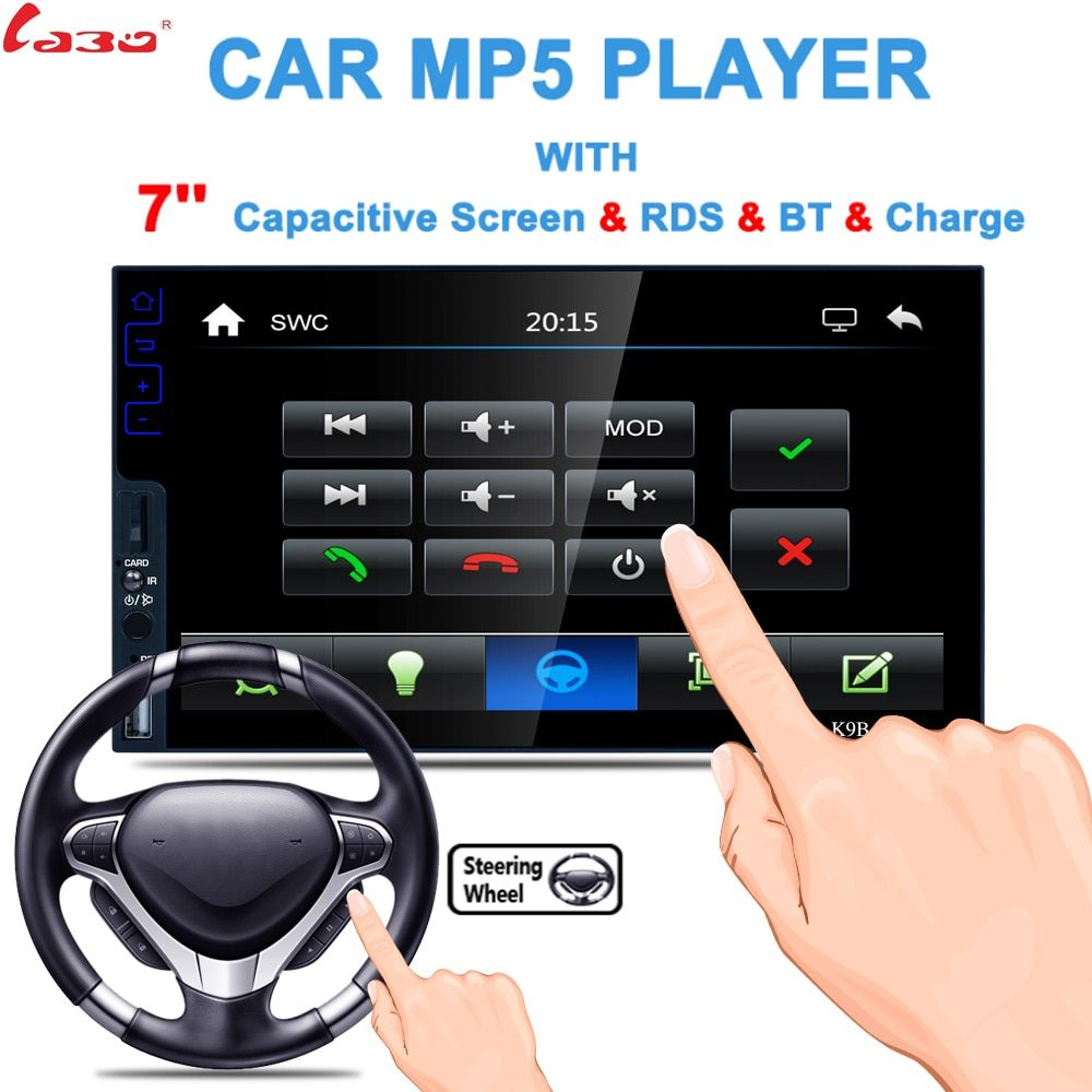 LaBo Universal Car Multimedia Player <font><b>7inch</b></font> Wince Touch Screen 1024*800 MP5 Player Support Reverse Remote Control Bluetooth