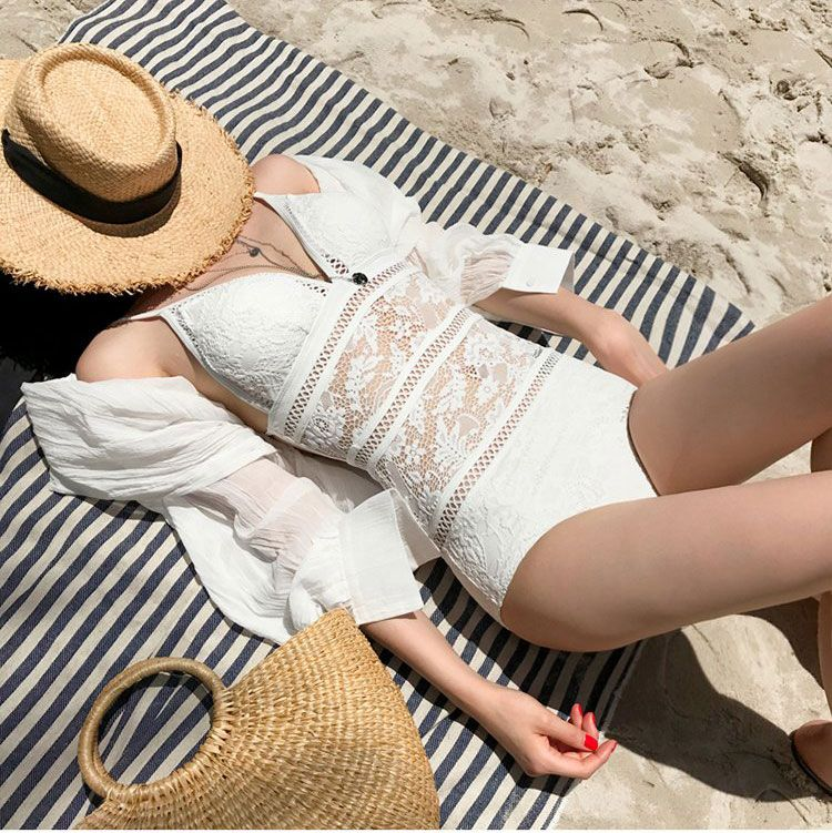 2018 one piece suits swimsuit sexy lace strap lady swimsuit women fused swimwear female bather solid backless nylon bikinis cool