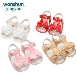 Bébé filles Sandales chaussures nouveau-né d'été chaussures bébé chaussures pour bébé Bowknot Anti-slip bebes enfants marque Blanc Rose rouge Abricot