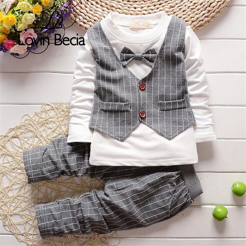 baby boy gentleman clothing sets kids uniform clothes for school <font><b>birthday</b></font> suits long sleeve Vest shirt cotton striped pants