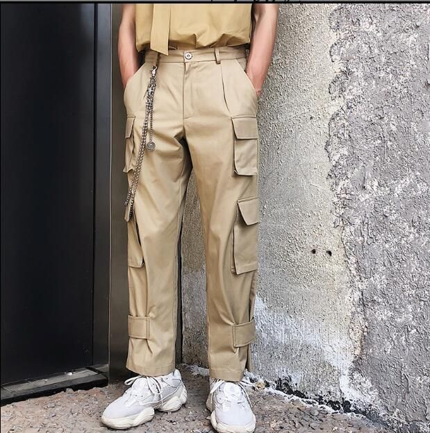 2018 Summer cotton overalls wide leg pants men's trend casual straight tube multi-pocket trousers High quality overalls for me